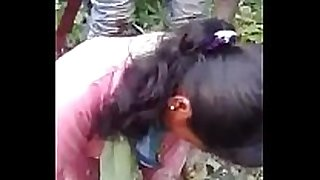 Indian gf drilled by bf and his ally in jungle