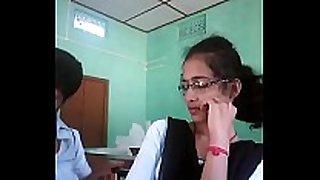 Teen gf & bf in college class