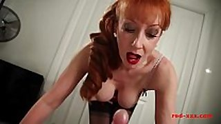 Horny large tit redhead milf gives her man a jack off