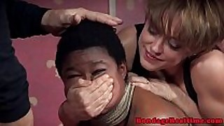 Bigtitted dark sub pounded in coarse threeway