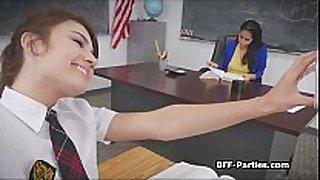 three perverted coeds on breasty teacher