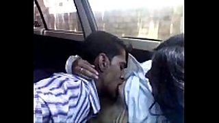 Indian legal age teenager playgirl in the car is fed with a...