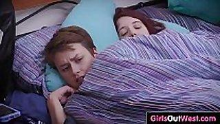 Cute bushy girlfriends fuck in the bedroom