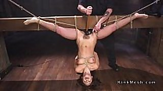 Tied up to wooden beam upside down dark brown fucked