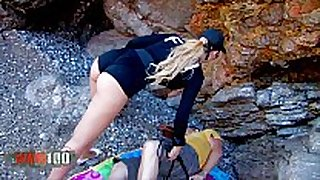 Amazing perfect blond cop brutal booty fucking a...