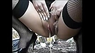 Fingering and void urine outdoor