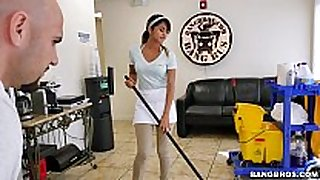 Bangbros - the recent cleaning black dong floozy swallows a load!
