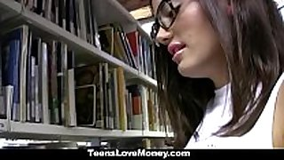 Teenslovemoney - library nerd copulates for cash