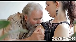 Hot young sweetheart fucked by old dude