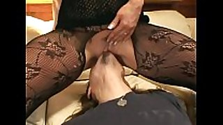 Pantyhose face sitting and oral-sex sex on a ottoman