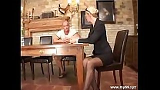 Elegant golden-haired german aged drilled in the ass ...