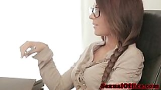 Gorgeous legal age teenager secretary copulates the office boss