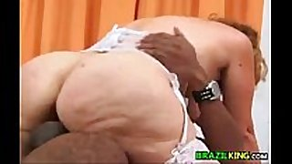 Fat grandma from brazil rides the strapon