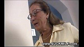 Horny cougar granny sucks youthful stud