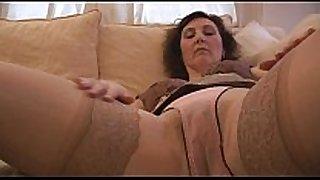 Busty mature gracious english white white slutty wife strips