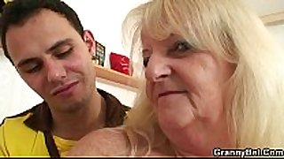 He brings golden-haired grandma home for hard fuck