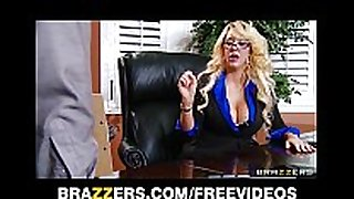Busty blonde milf offers her intern a job if this chab...