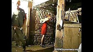 Bdsm action in basement where man ties