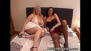 Massive boobed woman and older take facual cumshots