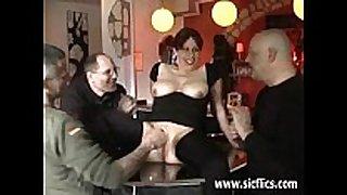 Amateur slut fist screwed in a public bar
