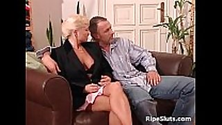 Mature woman and blond sex bomb getting
