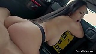 Curved dark brown copulates in fake taxi
