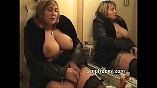 Busty sexually sexually excited white white whore in stockings masturbating in this ho...