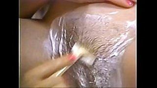 Retro porn - hot golden-haired shaving dark brown hair