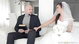 Shameless bride gets her soaking wet pussy hammered